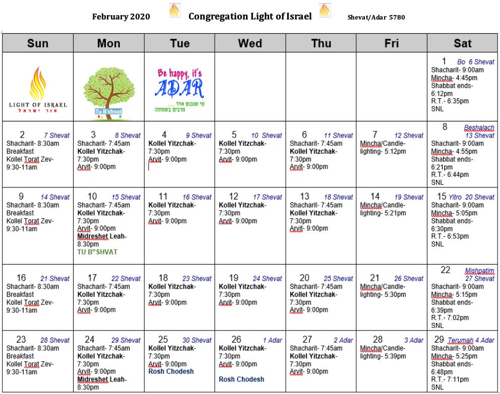 Schedule, February 2020