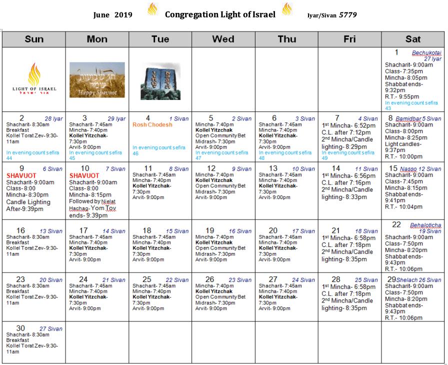 Schedule, June 2019