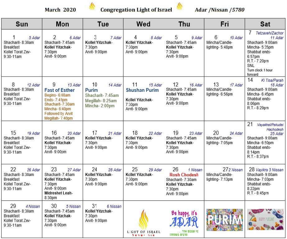 Schedule, March 2020