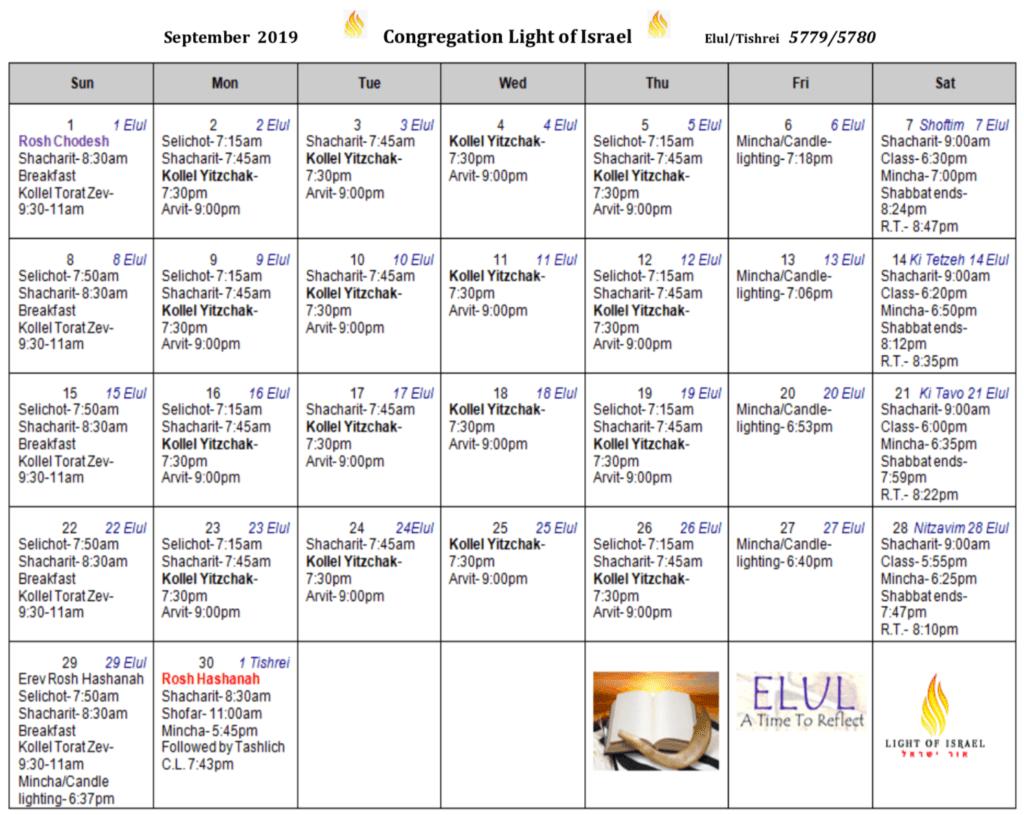 Schedule, September 2019